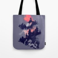 sunset Tote Bags featuring Samurai's life by Picomodi