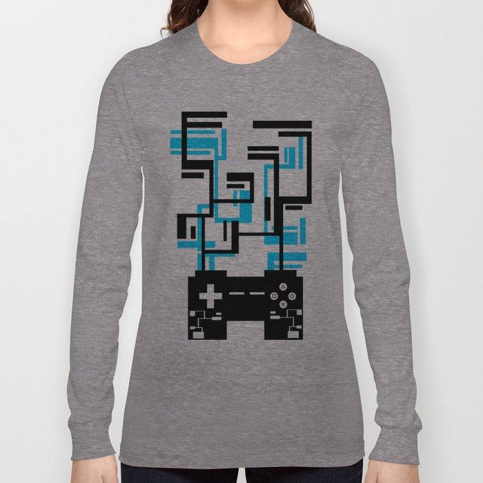 8-BIT JOYSTICK (BLUE AND BLACK) Long Sleeve T-shirt