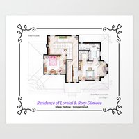 gilmore girls Art Prints featuring House of Lorelai & Rory Gilmore - First Floor by nikneuk