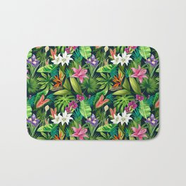 Tropical Lush Sanctuary, A Bohemian Paradise Bath Mat