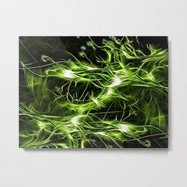 Green ectoplasm pattern, abstract surreal lines, lights on black, dark green Metal Print