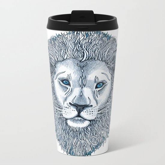 Blue Eyed Lion Metal Travel Mug