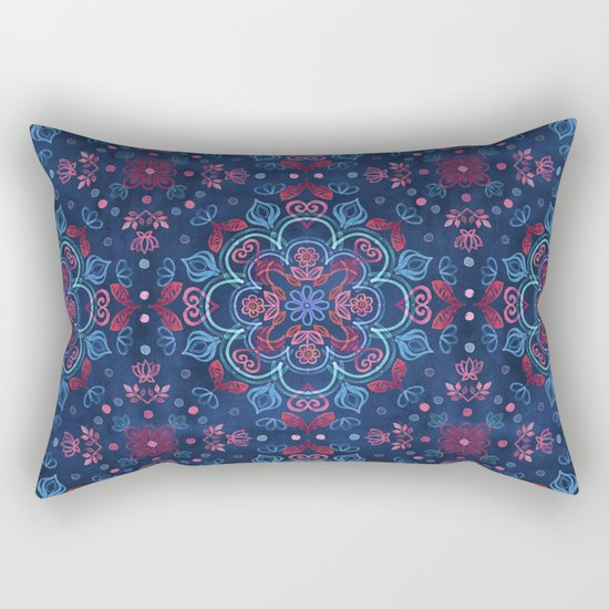 Cherry Red & Navy Blue Watercolor Floral Pattern Rectangular Pillow