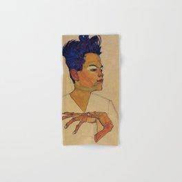 SELF PORTRAIT WITH HANDS ON CHEST - EGON SCHIELE Hand & Bath Towel