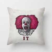 pennywise Throw Pillows featuring Pennywise by zinakorotkova