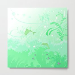 Dolphins Swimming Metal Print