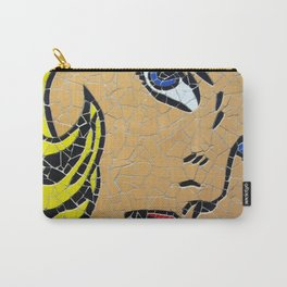 Girl with blue eyes - Unique handmade tiles mosaic Carry-All Pouch
