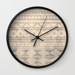 Ethnic geometric pattern with triangles circles shapes and lines Wall Clock