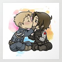 stucky Art Prints featuring Stucky chibi kiss by DeanDraws