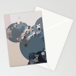 rihanna - abstract shades of blue pewter grey linen beige and pink Stationery Cards