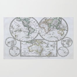 Vintage Map of The World (1862) Rug
