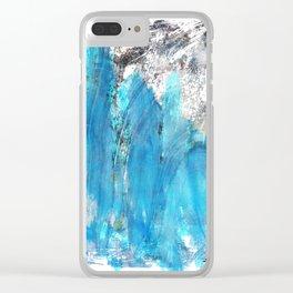 Modern Abstract Art - Blue Essence - Sharon Cummings Clear iPhone Case