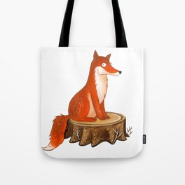 Silly Cute Fox, foxy, illustration, watercolor, wood, adorable, children, kid, decoratin Tote Bag