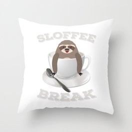 Sloffee Sloth Coffee Sloth In A Cup Christmas Gift Throw Pillow