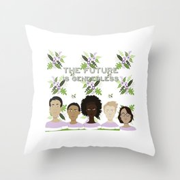 The Future is Genderless Throw Pillow