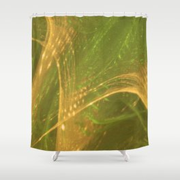 Green Yellow Asymmetric Fractal Shower Curtain