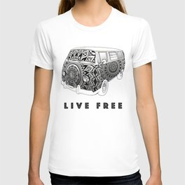 """Bus Life"" B&W Mandala Illustration T-shirt"