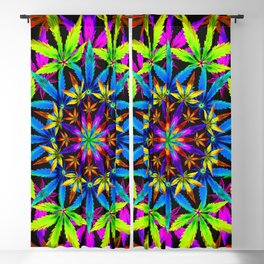 Stoners' Mandala Cannabis Leaves Blackout Curtain