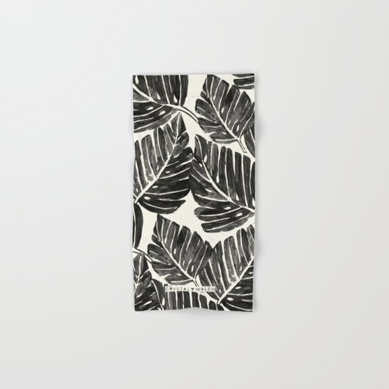 Jungle Leaves - Black Hand & Bath Towel