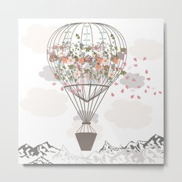 Air balloon with flowers and mountains. Fashion tripping illustration in vintage style Metal Print