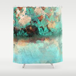 Bright Aqua and Copper Pond Landscape Shower Curtain
