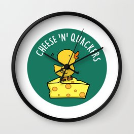 Cheese n Quackers Cute Duck Pun Wall Clock