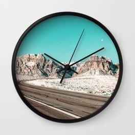 Vintage Desert Road Trip // Red Rock Canyon Las Vegas Landscape Roadtrip Photograph Wall Clock
