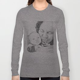 Mother and Child Ink Drawing Long Sleeve T-shirt