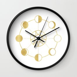 Gold Moon and Sun Phases Wall Clock