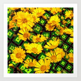 Golden Yellow Coreopsis Flowers Green-black Patterns Art Print