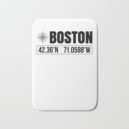 Boston City GPS Coordinates Souvenir USA Travel Gift Idea Bath Mat