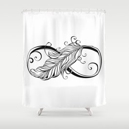 Infinity Symbol with Feather Shower Curtain