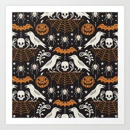 All Hallows' Eve - Black Orange Halloween Art Print