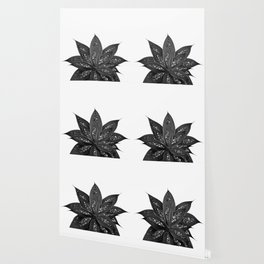 Gray Black Agave with Black Silver Glitter #1 #shiny #tropical #decor #art #society6 Wallpaper