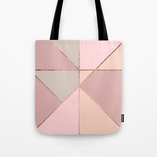 Modern rose gold peach blush pink color block Tote Bag