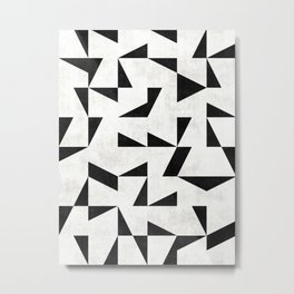 Mid-Century Modern Pattern No.11 - Black and White Metal Print