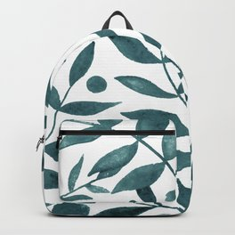 Watercolor berries and branches - teal grey Backpack