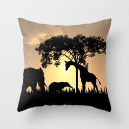 surfari silhouette  Throw Pillow
