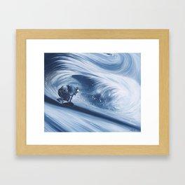 'Snowboarding Blue Blower' Framed Art Print