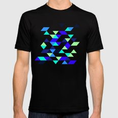 Geometric Blue Polygons MEDIUM Black Mens Fitted Tee