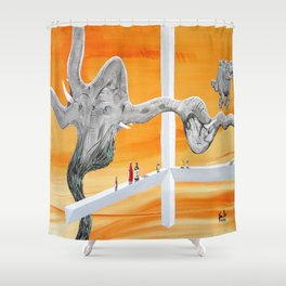 Pachyderm Cannibalism Shower Curtain