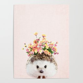 Hedgehog Garden on Blush Poster