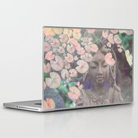 budi satria kwan Laptop & iPad Skins featuring Reflections - Zen Garden Kwan Yin Goddess Art by Fusion Idol