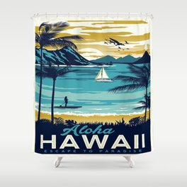 Vintage poster - Hawaii Shower Curtain