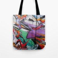 grafitti Tote Bags featuring Grafitti by Anna Mundy