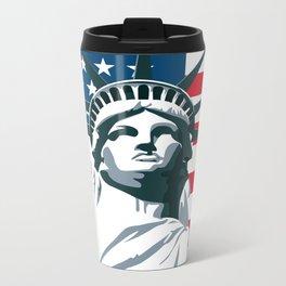 Pop Art Statue Of Liberty Metal Travel Mug