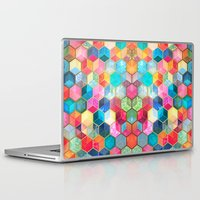 hexagon Laptop & iPad Skins featuring Crystal Bohemian Honeycomb Cubes - colorful hexagon pattern  by micklyn