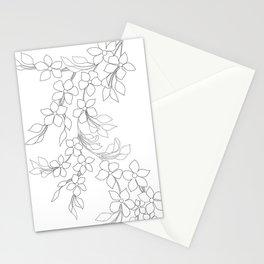Minimal Wild Roses Line Art Stationery Cards