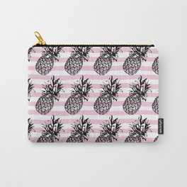 Pink Striped Pineapple Pattern Carry-All Pouch