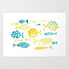 Watercolor Fish Pattern Art Print